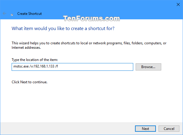Create Remote Desktop Connection Shortcut for Specific PC in Windows-specific_pc_rdc_shortcut-2.png