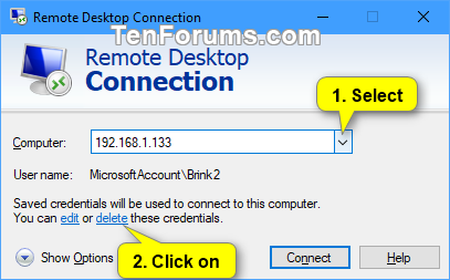 Delete Saved Credentials of Remote Desktop Connection in