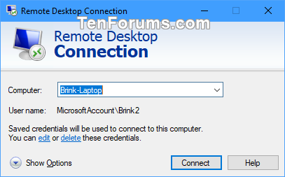 Remove Computer Entries from Remote Desktop Connection in Windows 10