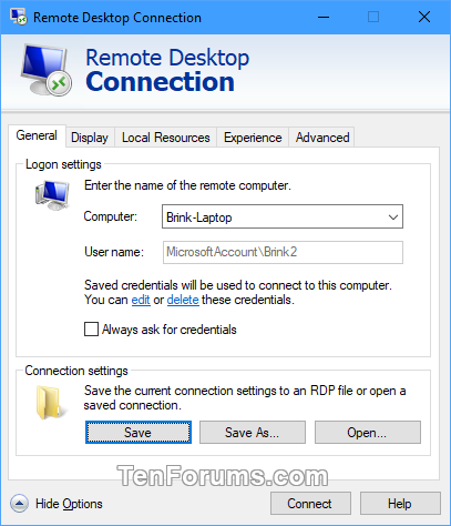 Save Remote Desktop Connection Settings to RDP File in