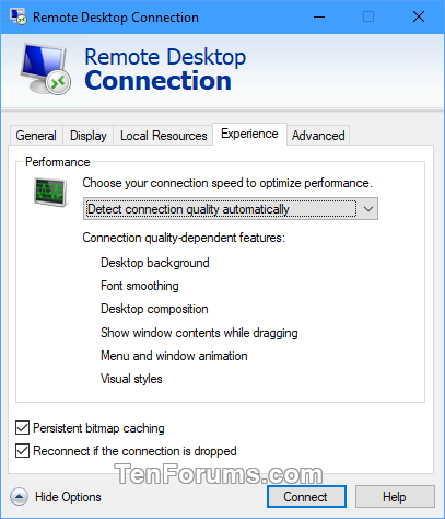 Save Remote Desktop Connection Settings to RDP File in Windows-rdc_settings-4.png