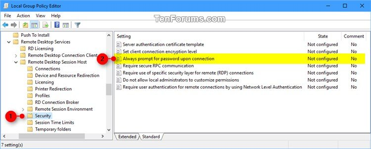 Enable Always Prompt for Password upon Remote Desktop Connection