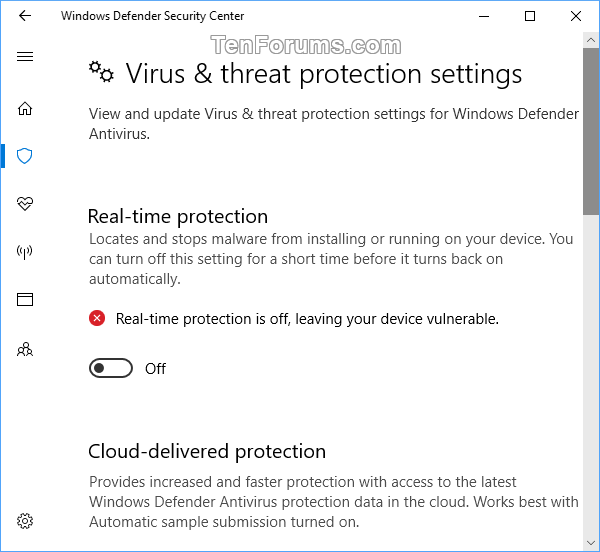 Turn On or Off Windows Defender Real-time Protection in