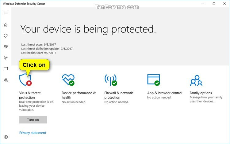 turning off windows defender security center