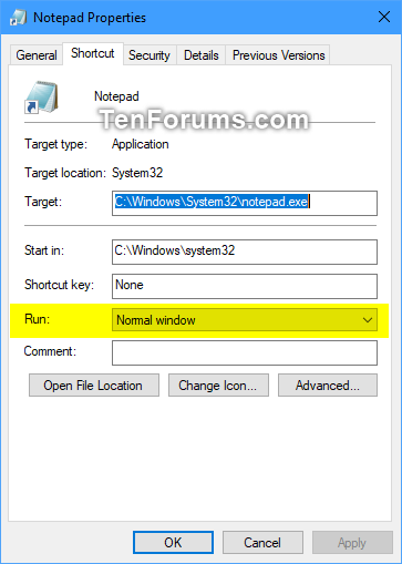 Always Open Shortcut as Normal, Minimized, or Maximized in