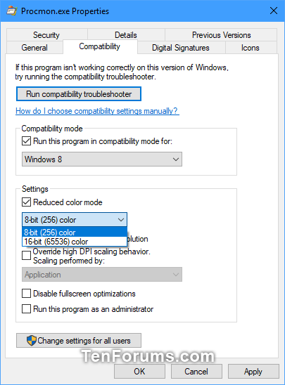 Change Compatibility Mode Settings for Apps in Windows 10 | Tutorials