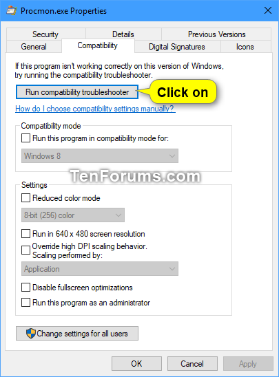 Change Compatibility Mode Settings for Apps in Windows 10