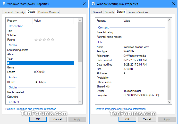 Add, Change, and Remove File Property Details in Windows 10