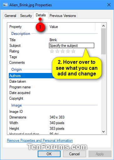 Add, Change, and Remove File Property Details in Windows 10 | Tutorials
