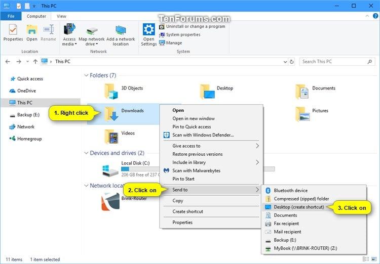 Create Shortcut to App, File, Folder, Drive, or Website in