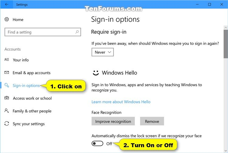 Face - Turn On or Off Automatically Unlock Screen in Windows