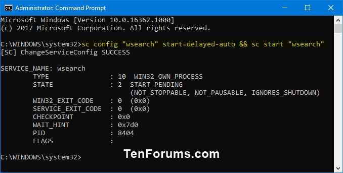 Enable or Disable Search Indexing in Windows-enable_windows_search_service-command.png