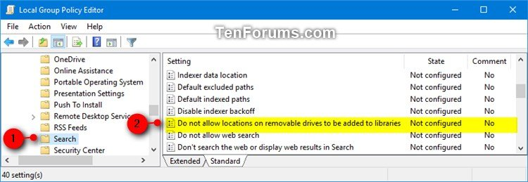 Disable Adding Removable Drives to Index and Libraries in