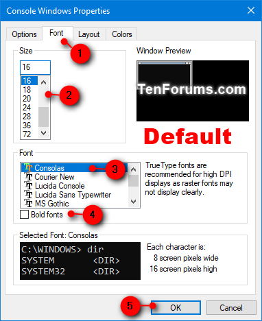 Change Console Window Font and Font Size in Windows | Tutorials