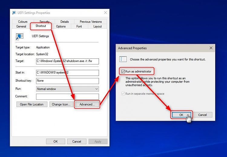how to change shortcut size windows 10