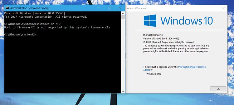 Create Shortcut to Boot to UEFI Firmware Settings in Windows 10