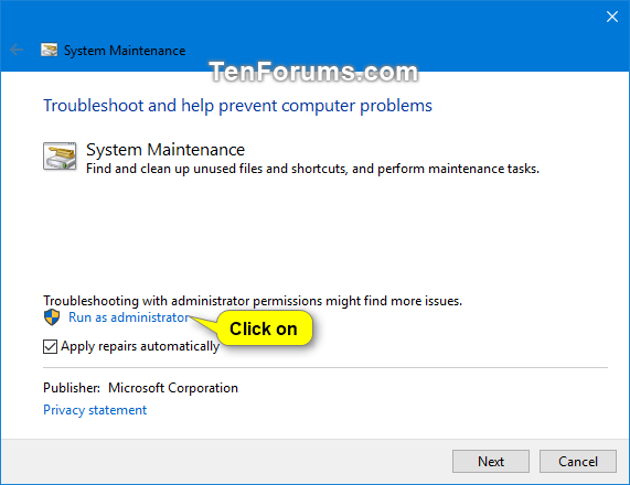Name:  System_Maintenance_troubleshooter_Run_as_administrator-2.png Views: 577 Size:  24.9 KB