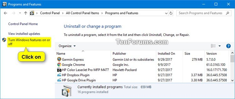 Install or Uninstall Windows Media Player in Windows 10