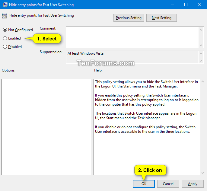 disable fast user switching windows server 2012 r2