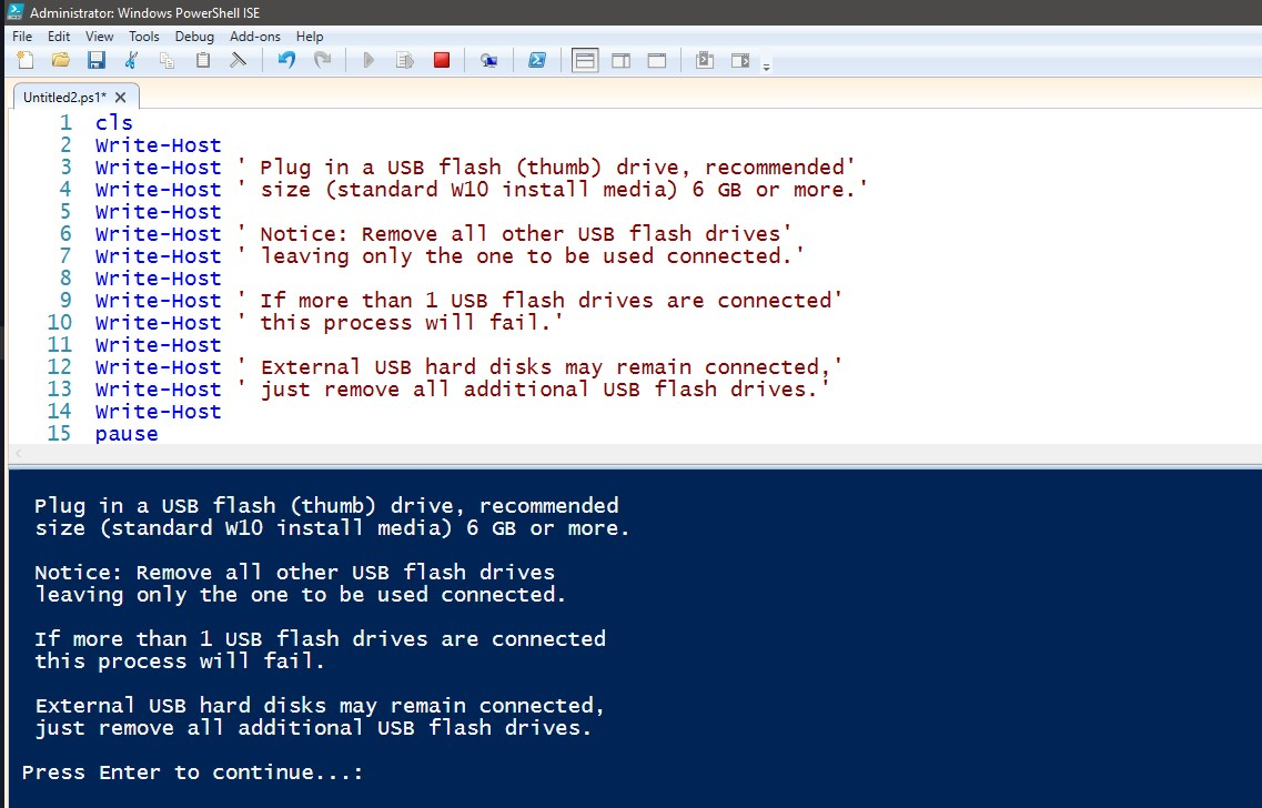 PowerShell Scripting - Create USB Install Media for Windows 10