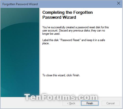 Create Password Reset Disk on USB Flash Drive in Windows 10