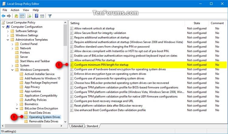 Specify Minimum PIN Length for BitLocker Startup in Windows