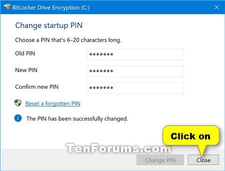 Change BitLocker Startup PIN in Windows 10 | Tutorials