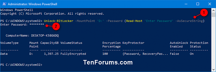 how to open bitlocker without password
