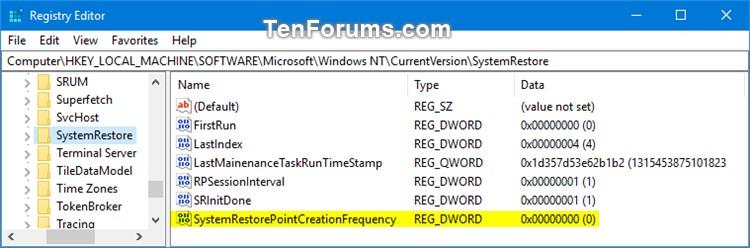 Change System Restore Point Creation Frequency in Windows 10-regedit.jpg