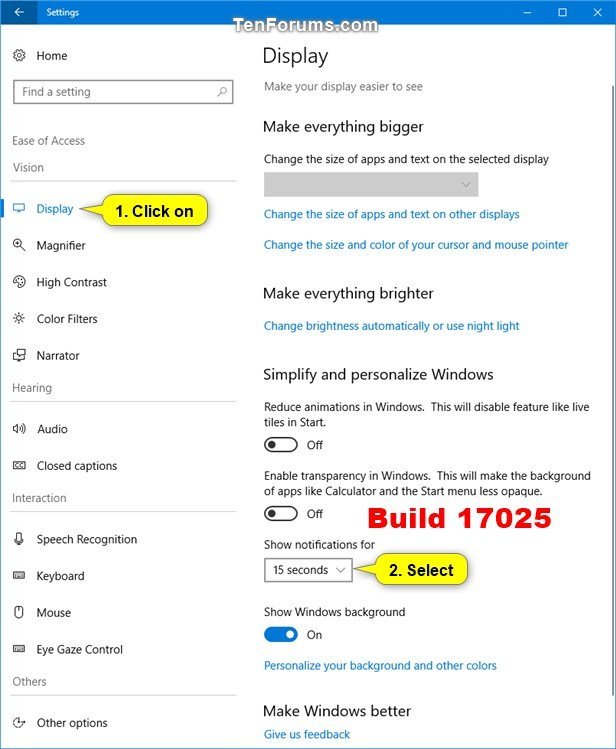 Change How Long to Show Notifications in Windows 10 | Tutorials