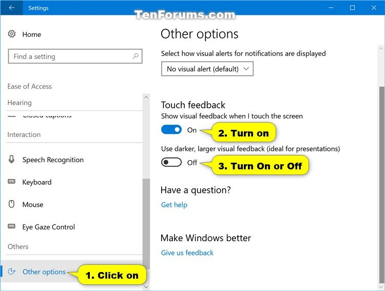 Turn On or Off Touch Visual Feedback in Windows 10 | Tutorials