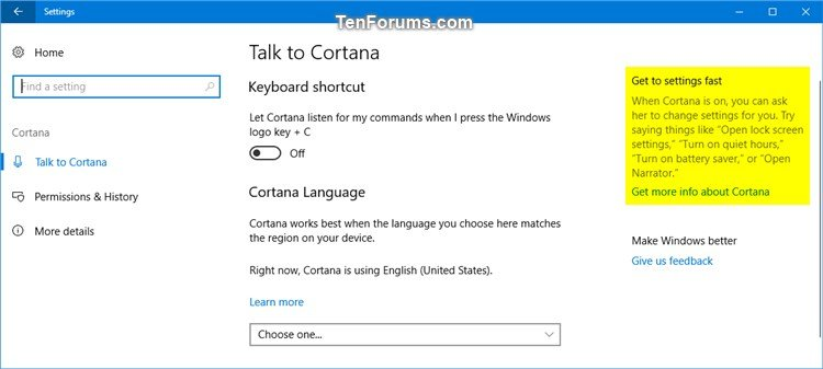Enable or Disable Online Tips and Help for Settings App in Windows