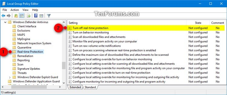 windows defender turn off real time protection