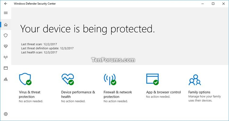 Hide Device Performance & Health in Windows Security in