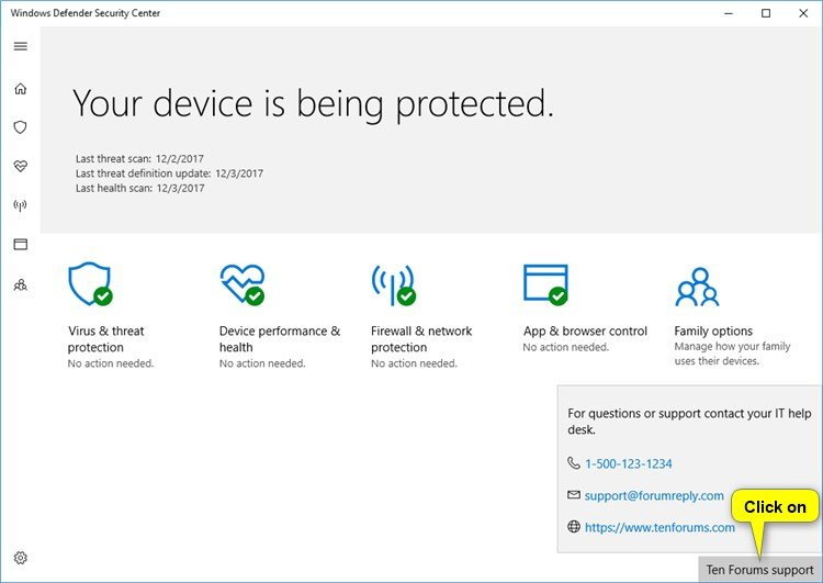 Add Support Contact Information to Windows Security in Windows 10
