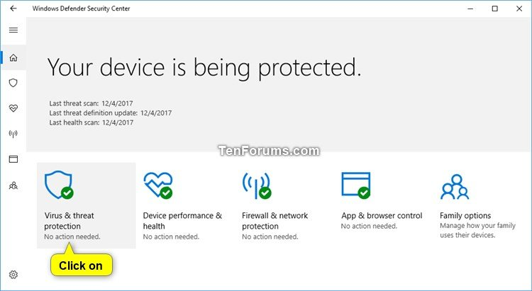 turn off messages about virus protection windows 10