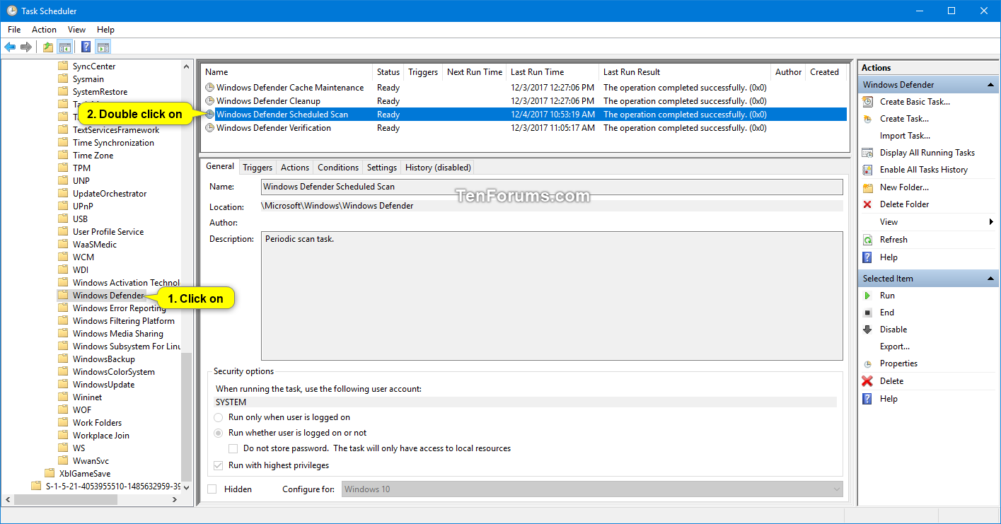 Schedule Scan in Windows Defender Antivirus in Windows 10