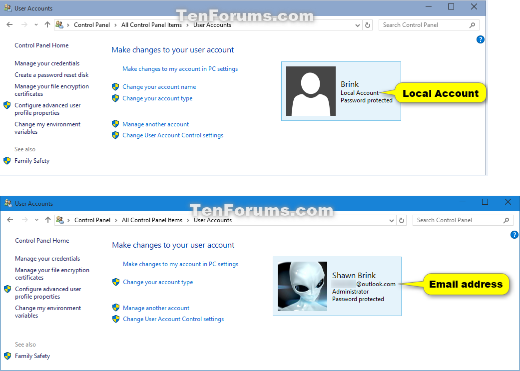 How to Tell if Local Account or Microsoft Account in Windows
