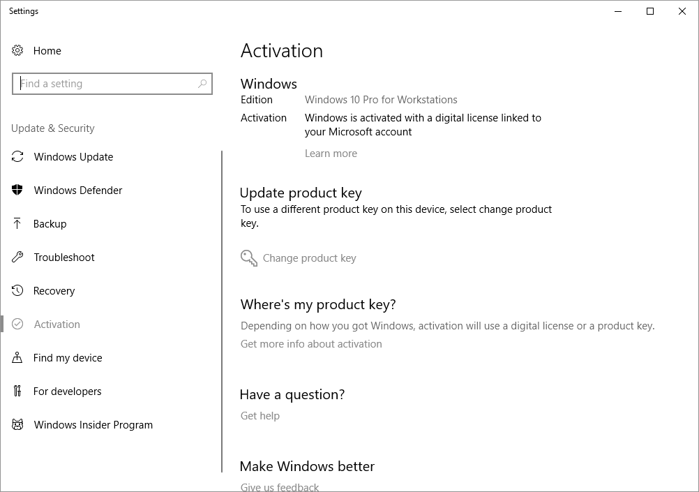 Upgrade Windows 10 Pro to Windows 10 Pro for Workstations