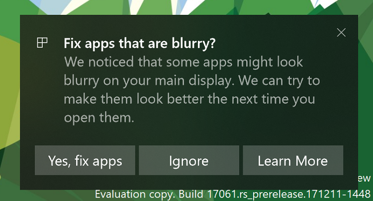 Turn On or Off Fix Scaling for Apps that are Blurry in Windows 10