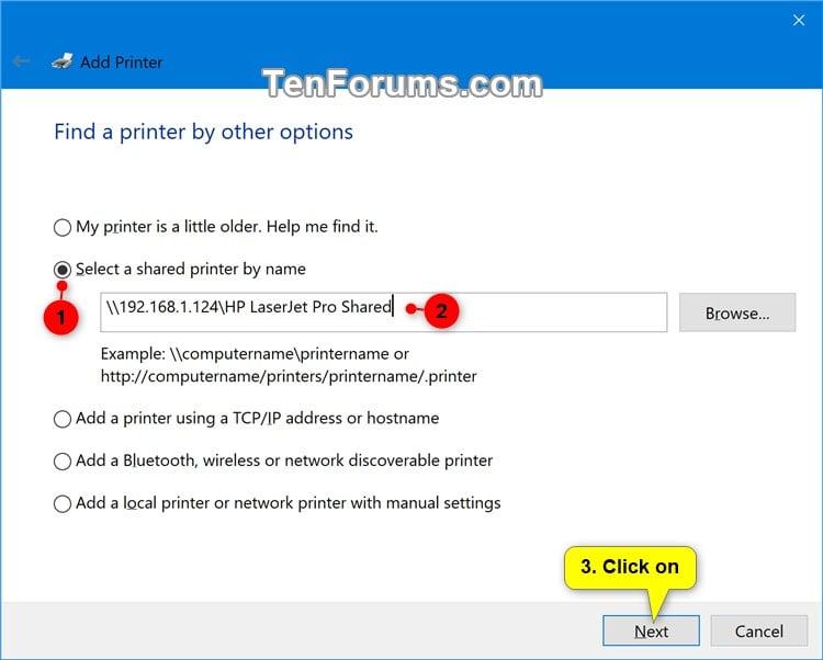 Add Shared Printer in Windows 10   Tutorials