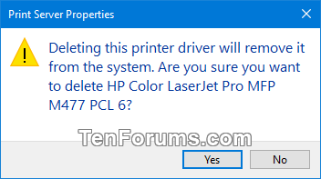 windows 10 printer drivers delete