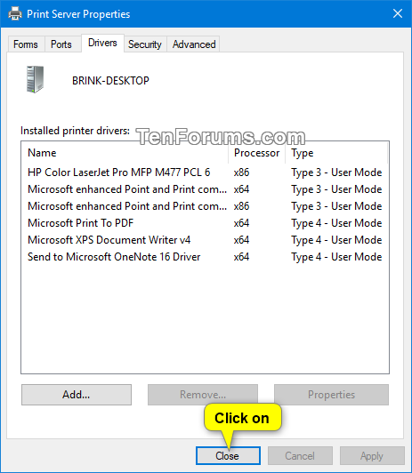 Windows 10 Copy Printer Driver