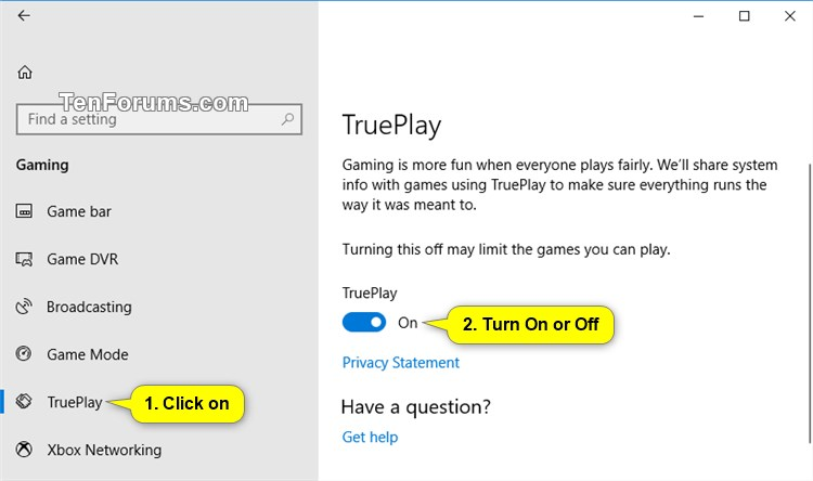 Turn On or Off TruePlay for Gaming in Windows 10 | Tutorials