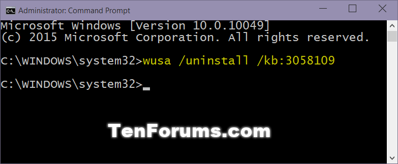 command prompt for windows 10 update