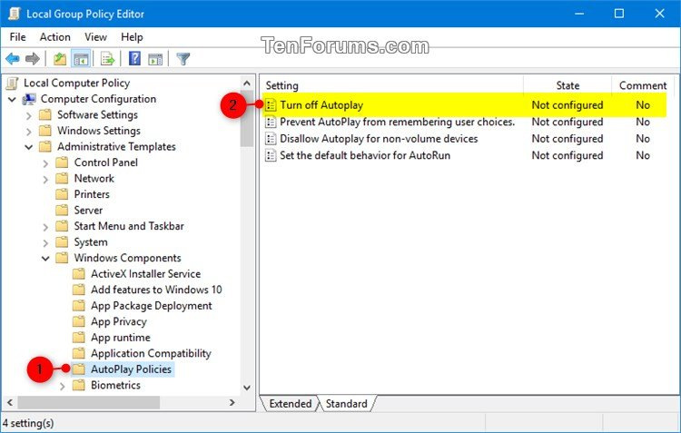 Enable or Disable AutoPlay for All Drives in Windows | Tutorials