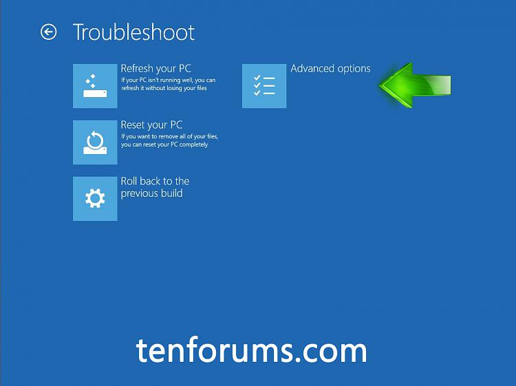 Troubleshoot Windows 10 failure to boot using Recovery Environment-click-advanced-options.jpg