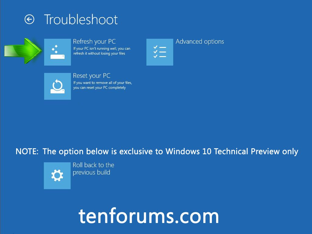 Recovery Environment - Use to Troubleshoot Windows 10 ...