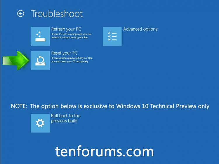 Troubleshoot Windows 10 failure to boot using Recovery Environment-cick-reset-your-pc.jpg
