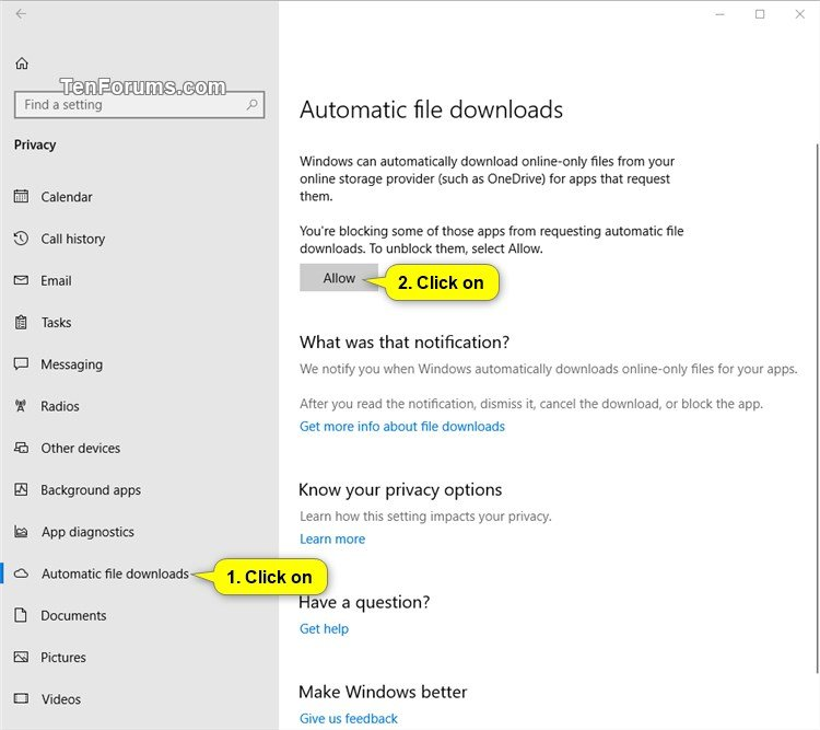 windows 10 automatic file downloads